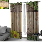 bybyhome Wooden Patio Door Curtain Panel Home Decoration Fence Garden Yard Summer Spring Daisy Flowers Butterfly Grass Rustic Print Kids Curtain Brown Green Yellow W96 x L108 Inch