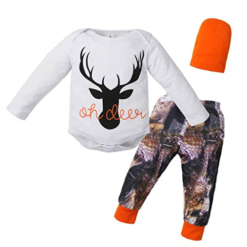 iumei 3pcs Infant Baby Boy Girl Oh Deer Long Sleeve Bodysuit Top+Pants Outfit with Hat (0-3 Months, White)