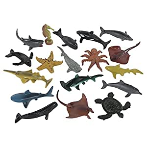 Ocean Life 18 Piece Playset: Plastic Sea Creature 4 inch Figures with Sharks, Octopus, Turtle, Sting Ray, Whales, Dolphin and More!