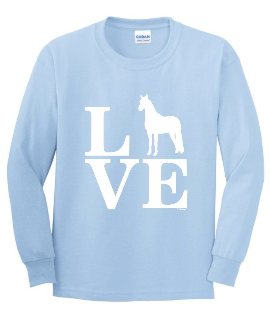 Barnyard Farm Animal, Love Horses Youth Long Sleeve T-Shirt Medium LtBlu