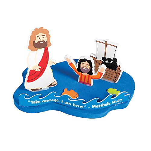 Fun Express - Jesus and Peter Walk On Water ck - Craft Kits - Party Craft Kits - Toys - 12 Pieces]()