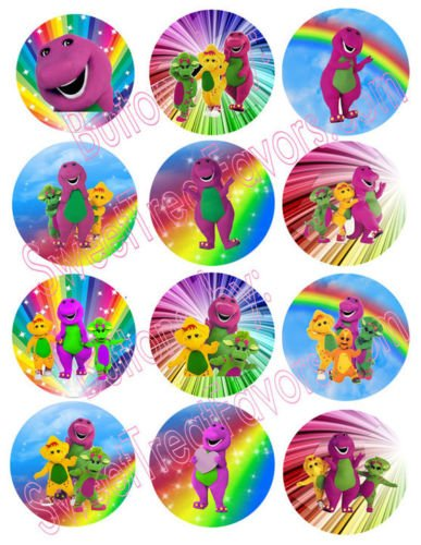 (BArney Party Favors Pins Buttons Treats Supplies Decoration x12 by Hallm)