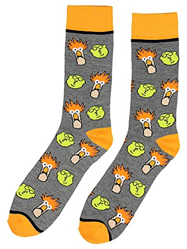 Disney The Muppets Socks Beaker and Dr Bunsen Men's Crew Socks, Shoe Size 8-12