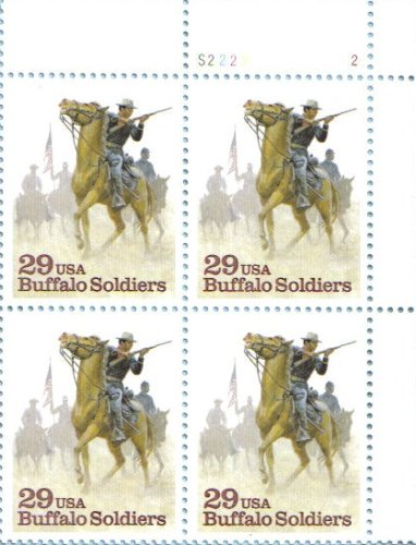 BUFFALO SOLDIERS ~ NEGRO CALVARY ~ BLACK HERITAGE #2818 Plate Block of 4 x 29 cents US Postage Stamps