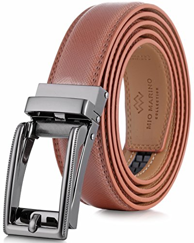 (Marino Men's Genuine Leather Ratchet Dress Belt with Open Linxx Buckle, Enclosed in an Elegant Gift Box - Light Tan - Style 70 - Custom: Up to 44