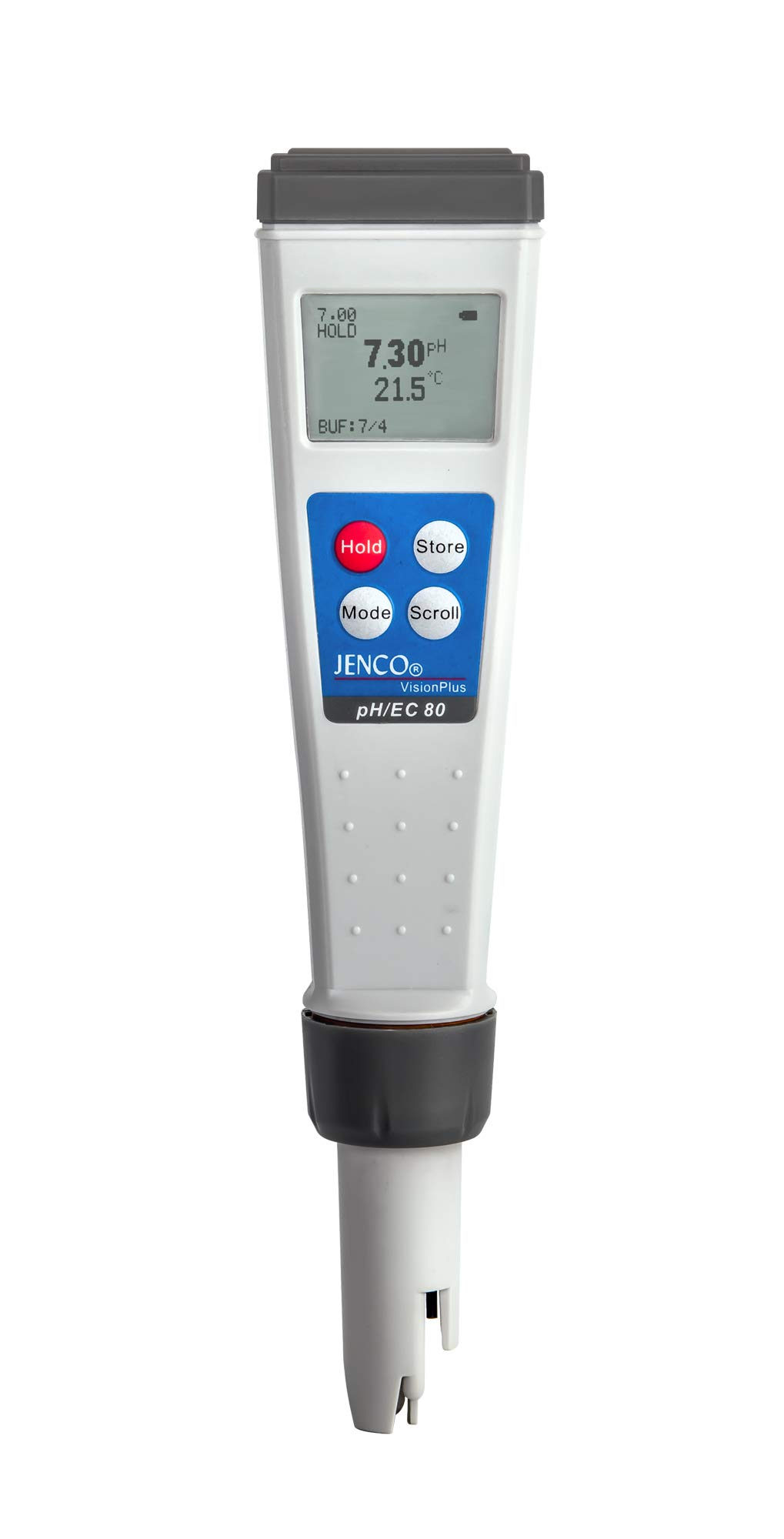 JENCO Vision Plus Series pH/EC80 Premium Waterproof Meter - (Conductivity) /TDS (ppm) /Salinity (PPT) /Temp. Multi-Parameter Pocket Tester Kit. Great for Hydroponic Growers, Pools & Spas, & Aquariums