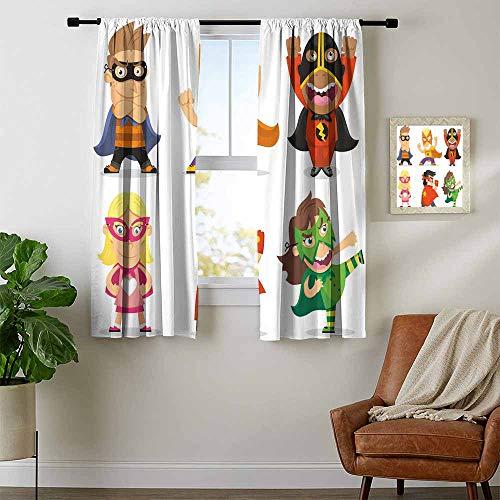 (Mozenou Superhero, Curtains Light Blocking, Children Dressed as Superheroes Kids Playroom Girls Boys Nursery Babyish Picture, Curtains for Living Room, W63 x L72 Inch)