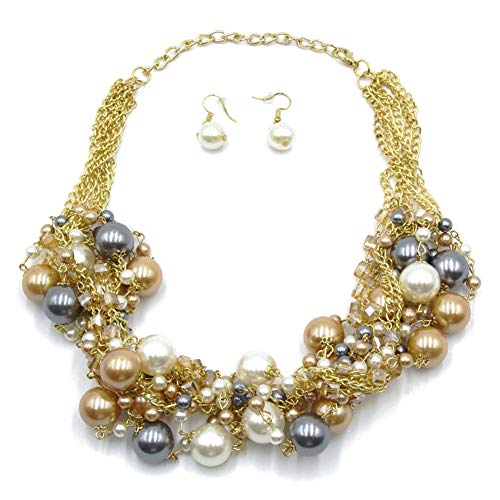 ashion Multi-Color Faux Pearl Cluster Chunky Bib Necklace chokers ()