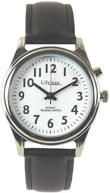 Lifemax RNIB 407 - Reloj analógico de caballero de cuarzo con función vocal en Inglés y correa de piel, negra