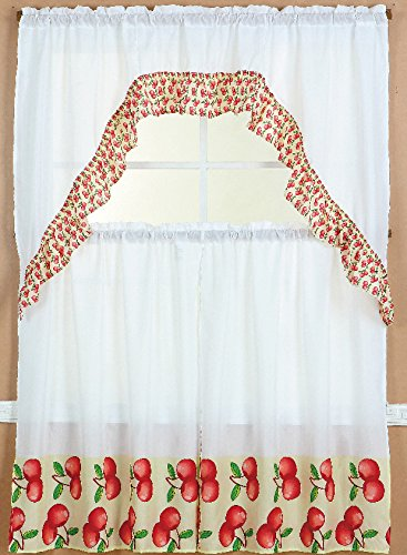 Jasmine Linen 3-Piece Printed Kitchen Curtain Window Treatment Set Curtain Tier (Apples)