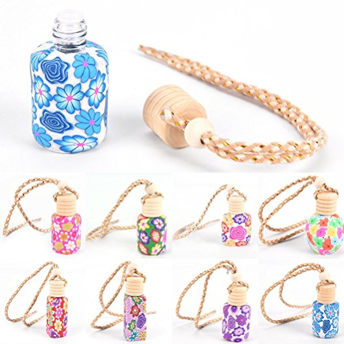 CosCosX 6Pcs Car Perfume Bottle Empty Refillable Fragrance Aroma Oil Container Holder Floral Art Printed Hanging Ornament Car Air Freshener Purifier Perfume Diffuser,Car Interior ()