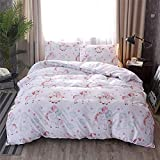 Jane yre Kids Unicorn Pattern Twin Pink 3 Pieces Reversible Girls Bedding Sets Teen Zipper Closure,TXL Size Bedding 79''x79''