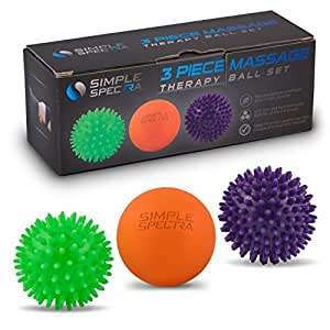 Massage Ball Roller Set - Spiky and Lacrosse Physical Therapy Balls   Pain Relief Deep Tissue Massager, Myofascial Release, Trigger Point, Plantar Fasciitis with eBook Guide and Travel Bag