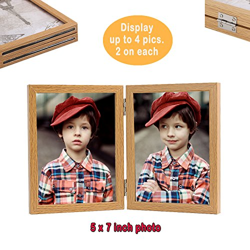 Giftmon Brown 4x6/5x7/6x8 Size Double Photo Frame, Glass Pan