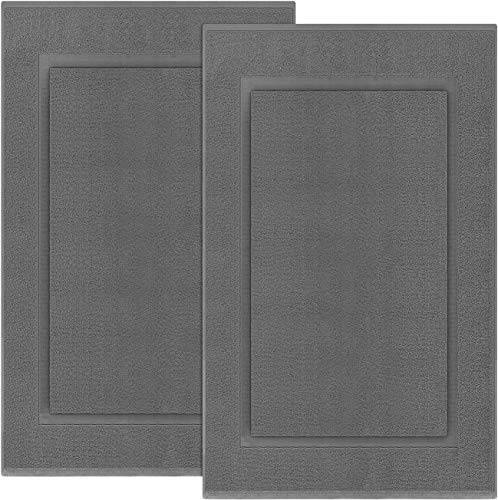 Utopia Towels Cotton Banded Bath Mats 2 Pack, [Not a Bathroom Rug], 21 x 34 Inches, Grey