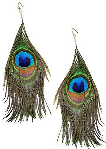 Forum Novelties Women's Peacock Earrings, Multi, Standard