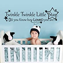 Baby Nursery Wall Decal Nursery Wall Quote Little Star Wall Sticker Words Stars Wall Mural Graphic Nursery Wall Decor-Twinkle Twinkle Little Star Dark Brown