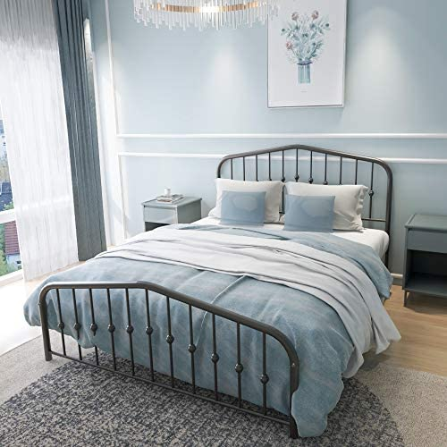 Metal Bed Queen Size Platform Bed Frame Morden Design Heavy Duty Steel Slat and Support, Black 51MCoORUYtL