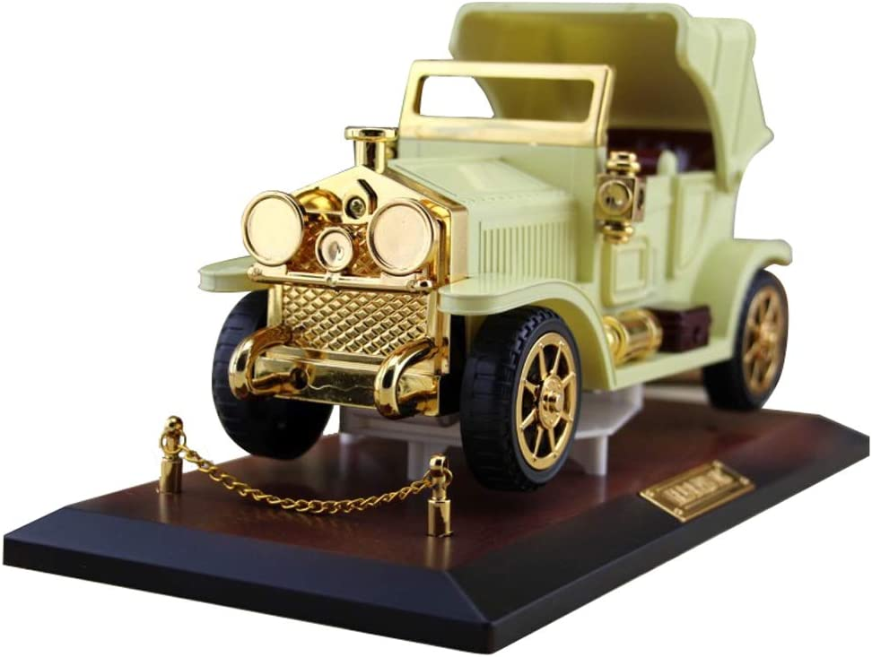 Tipmant Vintage Car Music Box Antique Vehicle Model Home Wall Room Décor Decoration Kids Gifts (Yellow)
