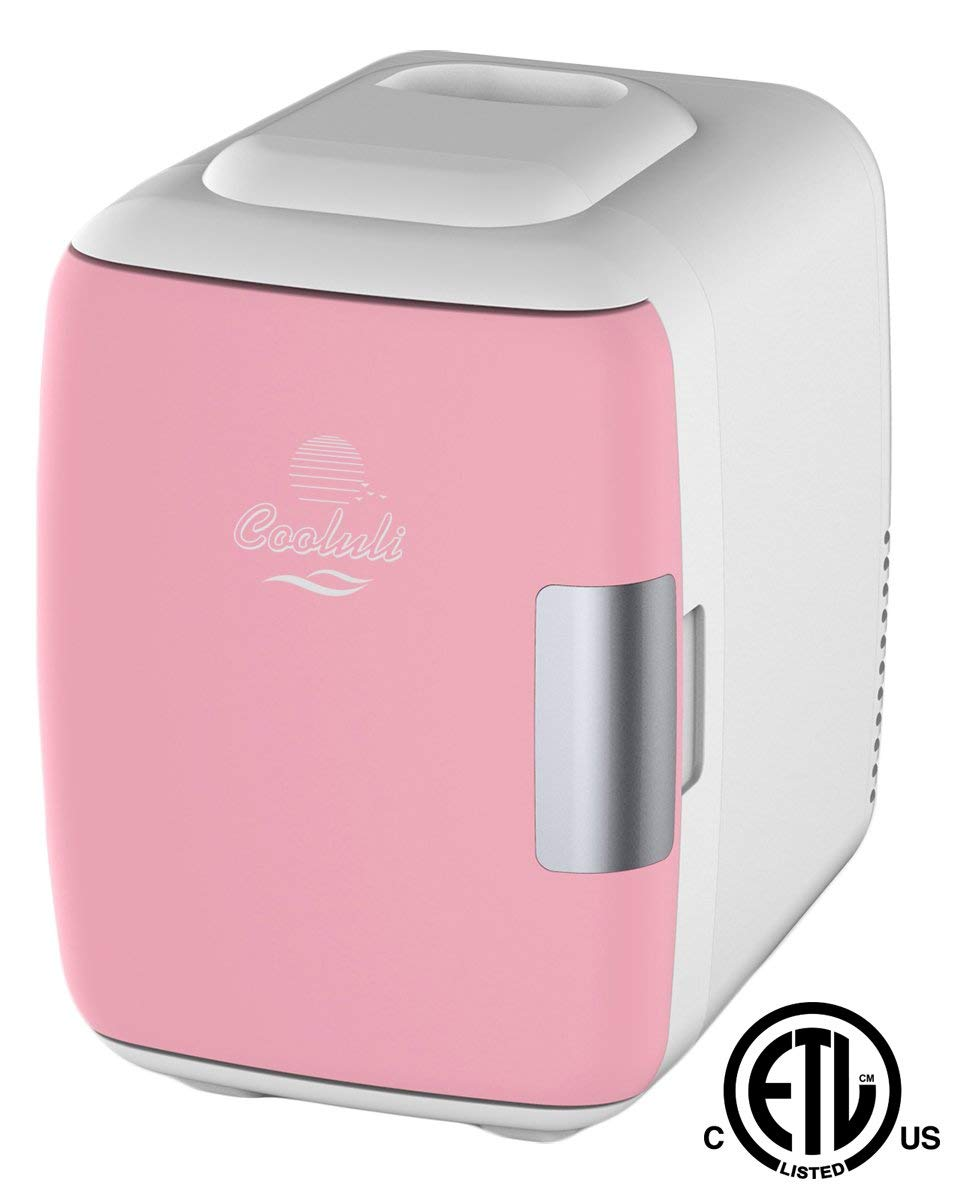 Cooluli Mini Fridge Electric Cooler and Warmer (4 Liter / 6 Can): AC/DC Portable Thermoelectric System w/ Exclusive On the Go USB Power Bank Option (Pink) (Renewed)