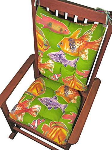 Porch Rocker Cushion Set - Big Fish Lime Green Tropical Aquarium Fish Reverses to Westport Red Cabana Stripe - Indoor / Outdoor: Fade Resistant, Mildew Resistant - Latex Foam Fill - Made in USA - Goldfish (Lime Green, Standard)