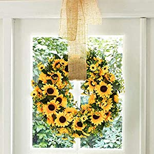 Lovely Spring & Summer Artificial Sunflowers Flowers Greenery Wreath,16 Inch Quality SunFlower for Front Door Wall Hanging Decorative 3