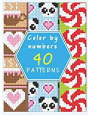 Color by number patterns: Coloring Book with 40 Unique mystery square colors color by number for Relaxation and Stress Relief