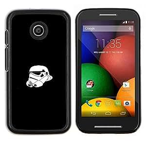 Qstar Arte & diseño plástico duro Fundas Cover Cubre Hard Case Cover para Motorola Moto E (Tormenta Tropa Casco)