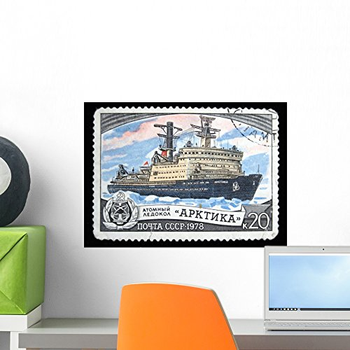 Wallmonkeys Nuclear Ice Breaker Arctic on Soviet Stamp Wall Decal Peel and Stick Graphic WM175959 (18 in W x 13 in H) (Nuclear Ice)