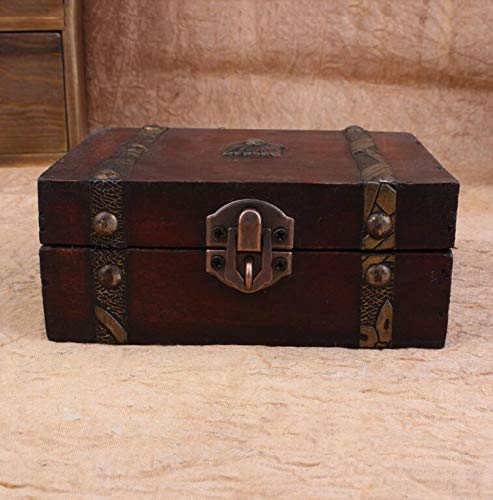 Lessonmart Vintage Wooden Case Storage Box Treasure Organizer Metal Lock Decorative Jewelry Storage Photo Collection Wood Gift Box