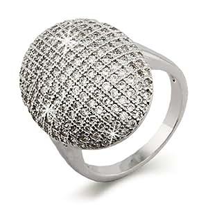 Vampire Inspired Glistening Round Shaped CZ Engagement Ring, Sizes 5 to 10