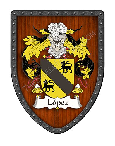 López III Custom Coat of Arms Spanish Hispanic Family Crest Ancestry and Heritage Hanging Metal Shield - Hand Made in the USA