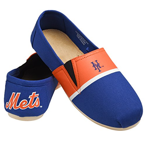MLB New York Mets Men's Canvas Stripe Shoes, Large (11-12), (New York Mets Fiber)