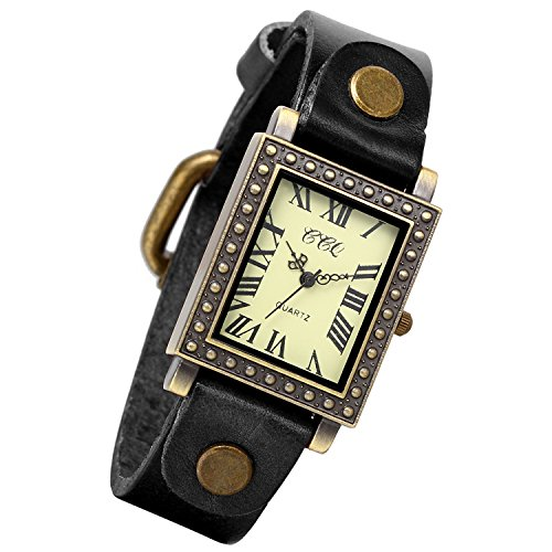Brass Ladies Watch - Lancardo Ladies Antique Brass Square Face Silm Thin Black Leather Strap Watch