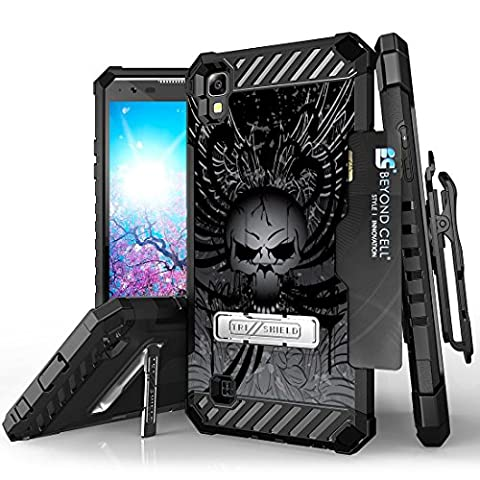 LG X Power Case - [Skull Wings] Premium Tri-Shield [Impact Resistant] Rugged Armor Kickstand 360 Swivel Belt Clip Holster Combo Cover and Atom (Wing Phone Covers)