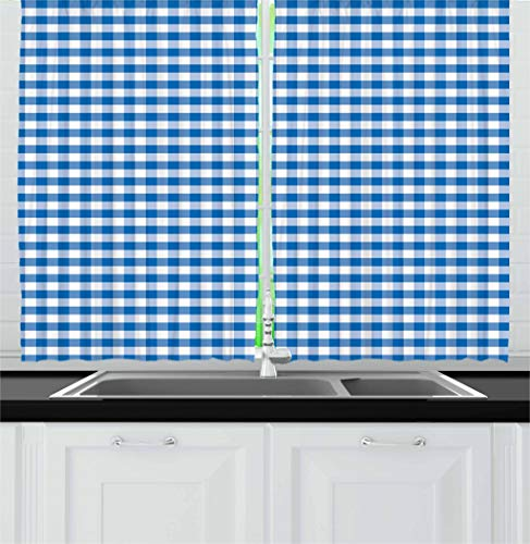 Ambesonne Checkered Kitchen Curtains, Monochrome Gingham Checks Classical Country Culture Old Fashioned Grid Design, Window Drapes 2 Panel Set for Kitchen Cafe, 55 W X 39 L Inches, Blue White (Kitchen Checkered)