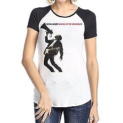 Loyd D Women S Bryan Adams Waking Up The Neighbours Short Sleeve Raglan Baseball Tshirts Black Large