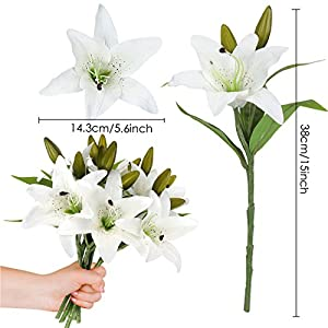 RERXN Artificial Tiger Lily Flowers Latex Flowers Home Wedding Party Decor,Pack of 5 2