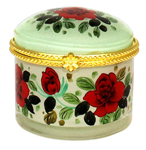 Red Roses Art Glass Jewelry Case - JB-474