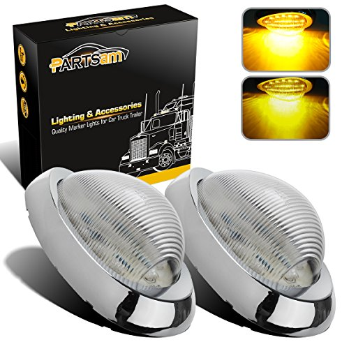 "Partsam 2X Clear/Amber 5-7/8"" Led Side Marker Lamp Turn Signal Teardrop Light 15LED Sealed Replacement for Freightliner Century/Columbia Amber LED Side Marker Signal Light w Chrome Bezel Clear Lens"