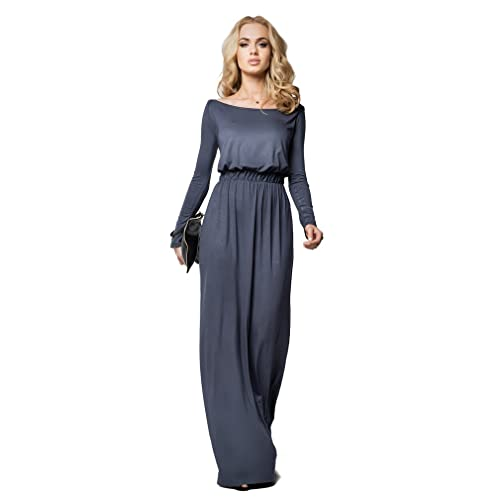 FUTUROFASHION® Elegant Empire Maxi Dress Full Length Boat Neck Long Sleeve Cocktail Style Open Neckline