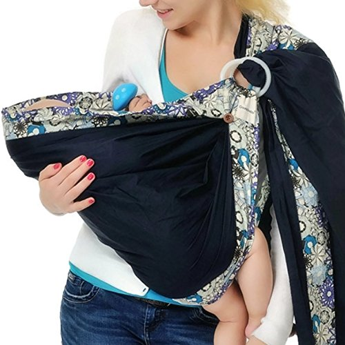 Dna Small Sling - Baby Wrap Ring Sling Baby Carrier for Newborn, Infants and Toddlers (Navy Floral)