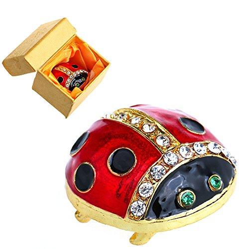 YU FENG Beetle Lady Bug Crystals Jewelry Jeweled Trinket Gift Box