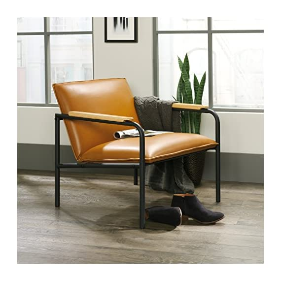 Sauder Boulevard Café Lounge Chair, Camel finish - Durable, powder coated black metal frame Leather-like seat and back for added comfort Arms accented with wood caps for an extra touch of style - sofas-couches, living-room-furniture, living-room - 51MCr3X4PlL. SS570  -