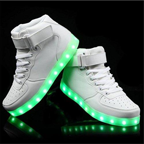 (Presente:pequeña toalla)JUNGLEST® LED Light 7 color Shoes zapatillas para hombre USB carga de techo luces intermitentes de calzado de deportes zapati, Blanco, 45 EU