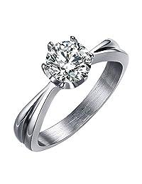 OAKKY Women's Stainless Steel AAA Grade Zircon Promise Engagement Rings