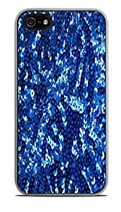 Blue Sequins Sparkles Print Pattern White Silicone Case for iPhone 5 / 5S