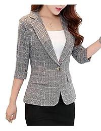 YUELANDE Women One-Button Plaid Slim Fit 3/4 Sleeve Lapel Blazer Coat