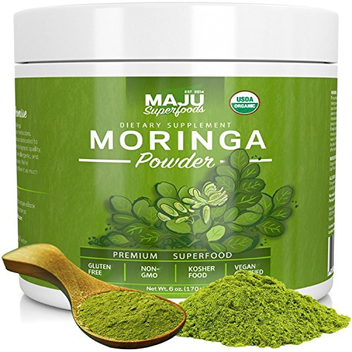 MAJU's Organic Moringa Powder: NON-GMO, Guaranteed Purest, 100% Raw Moringa by Maju Superfoods