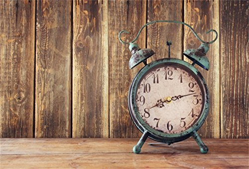 Tech 12' Wall Clock - AOFOTO 7x5ft Old Clock on Vintage Wooden Board Backdrop Rustic Wood Plank Photography Background Nostalgia Time Tick Away Memory New Year Portrait Photo Studio Props Vinyl Wallpaper